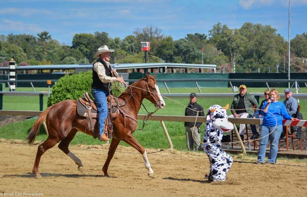 Dale Simanton on Rikim. Photo by Rough Coat Photography, courtesy of the Retired Racehorse Project.
