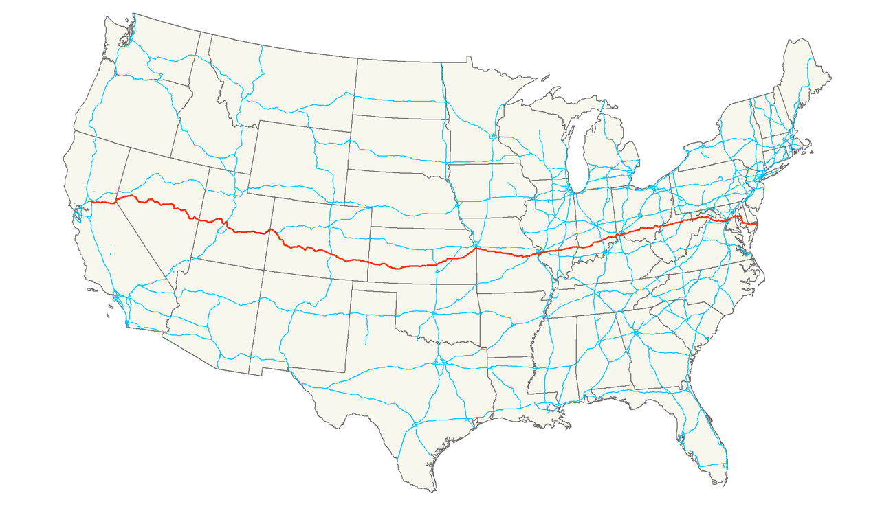 Map of Highway 50 across the United States. Public domain.