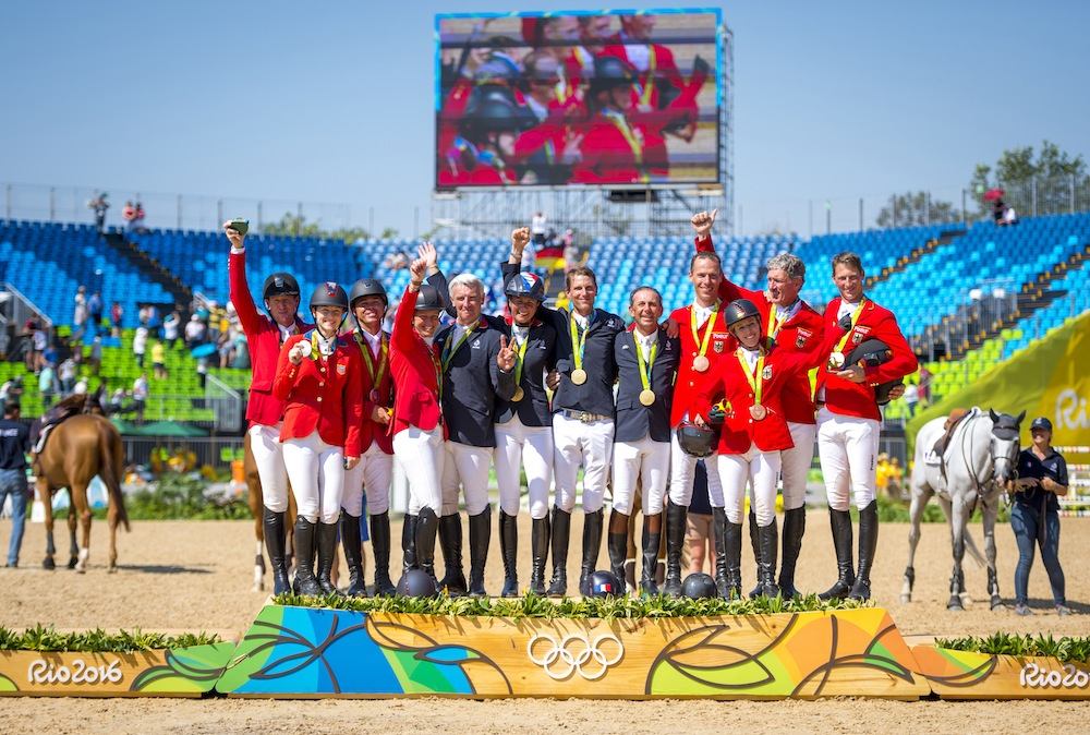 Team Jumping Medalists Gold France,Silver USA, Bronze Germany Rio Olympics 2016 Photo Arnd Bronkhorst