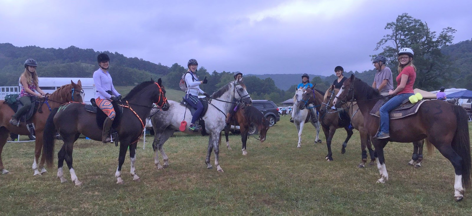 Left to right: Lauren on Shiloh, Me on Q, Liz on Griffin, Charlie on Dakota, Dan on Butch, Jess on Lilly, Carlos on Gracie, and Orion on Nell. Photo by Nicole.