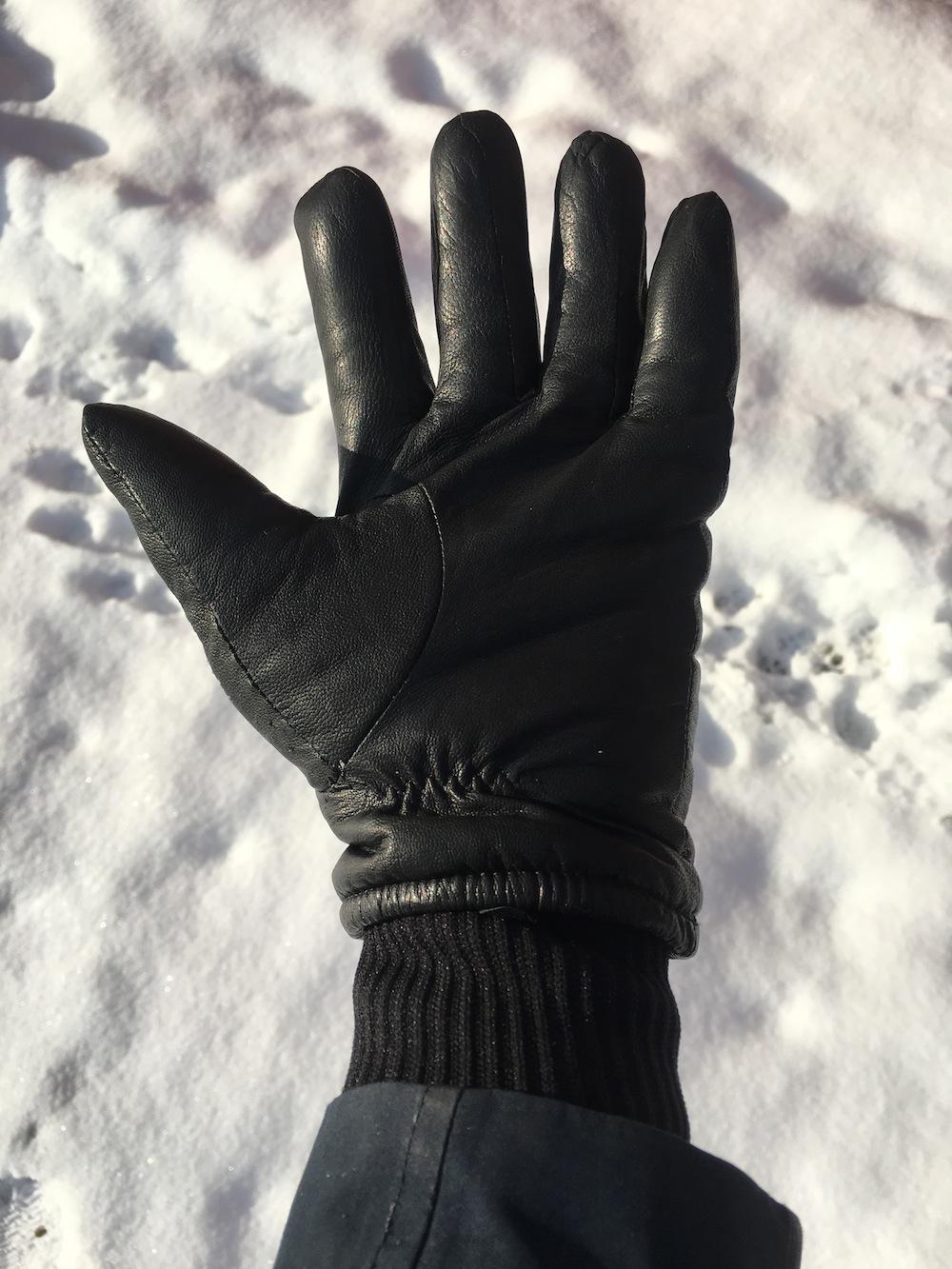 Glove palm and knit storm cuff.