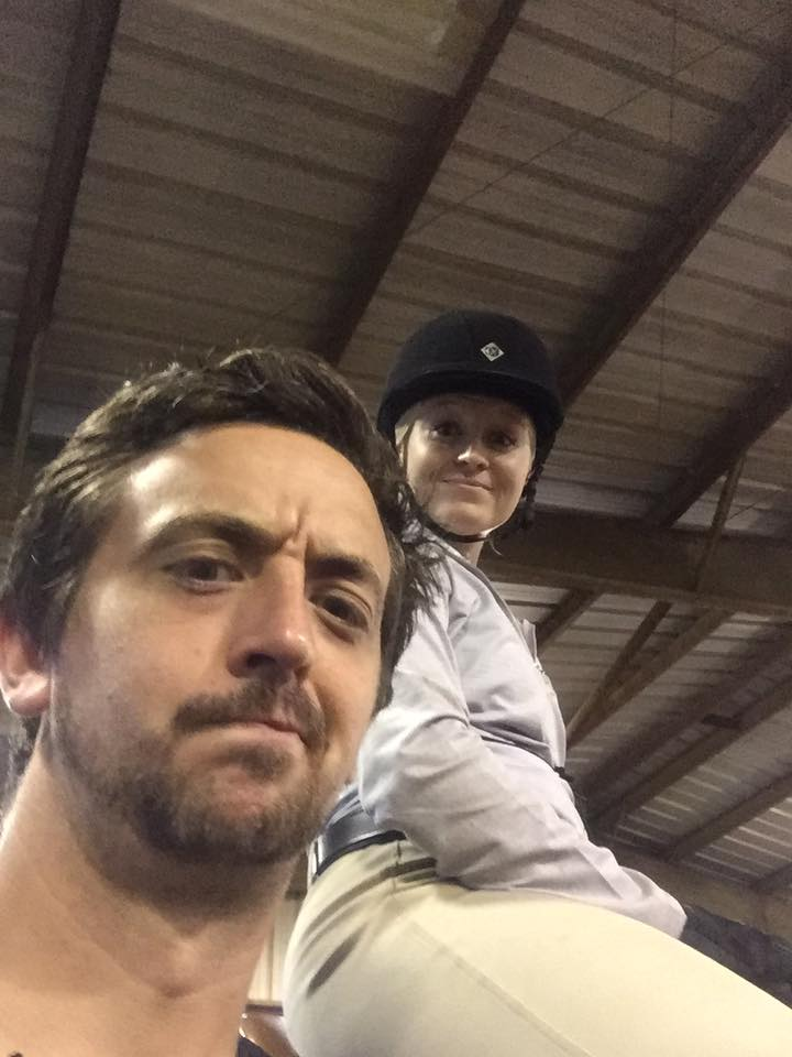 You can tell by Wayne's face in this horse show selfie that he is absolutely THRILLED about me refusing to tell him where the Show Office is so he won't preemptively look at the bill....Photo by Wayne DeLisle