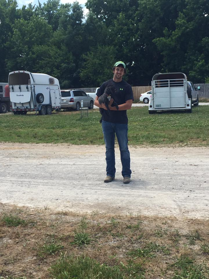 ....he asks all of these things as he carried our beloved late ShihPoo Yoshi around at the horse show so his feet wouldn't get dirty. Photo by Meagan DeLisle