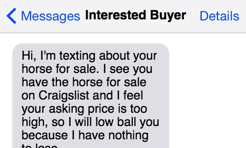 If Horse Sales Texts Were Honest